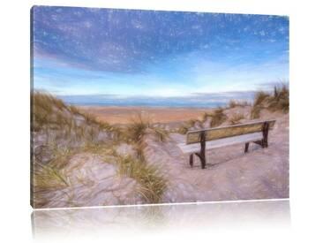 """Leinwandbild """"Bank in den Dünen mit Blick auf das Meer"""", Grafikdruck"""