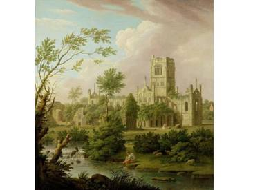"Gerahmtes Poster ""Kirkstall Abbey, Yorkshire, 1747"" von George Lambert, Kunstdruck"