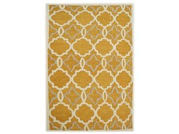 Teppich Retro aus Wolle in Gelb