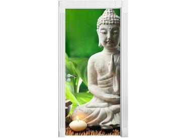 Türaufkleber Seerosenblüte mit Buddha Statue