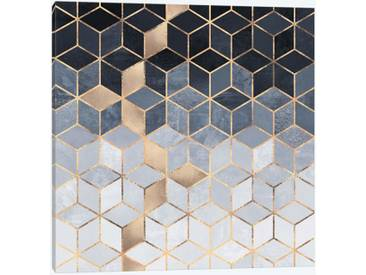 Soft Blue Cubes by Elisabeth Fredriksson Graphic Art Print on Wrapped Canvas