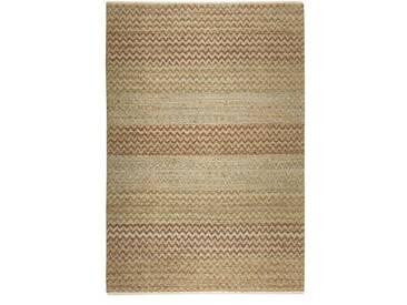 Handgefertigter Teppich Zigzag Nature in Braun