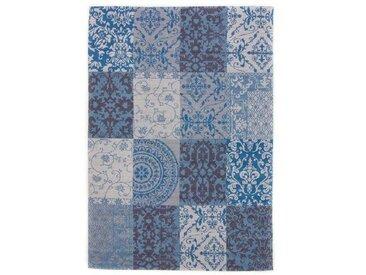 Handgefertigter Kelim-Teppich Siobhan aus Wolle in Blau