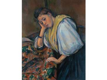 Leinwandbild Junge Italienerin an einem Tisch von Paul Cezanne