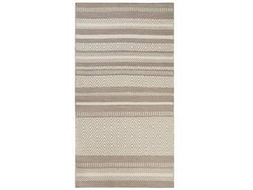 Handgefertigter Teppich Hudson aus Wolle in Taupe