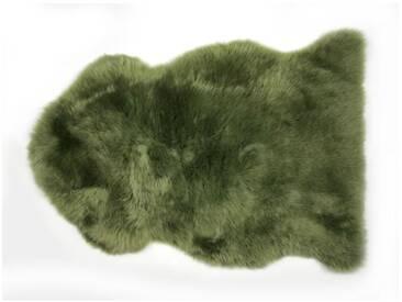 Handgefertiger Teppich aus Schaffell in Grün