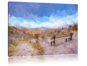 Leinwandbild Bank in den Dünen mit Blick auf das Meer, Grafikdruck