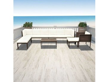 10-Sitzer Lounge Set Delrick aus Polyrattan mit Polster