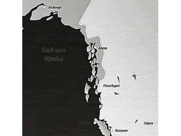 3-tlg. Leinwandbild-Set World Map, Grafikdruck