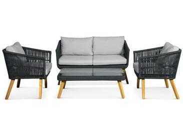4-Sitzer Sofa-Set Maxim aus Rattan mit Polster