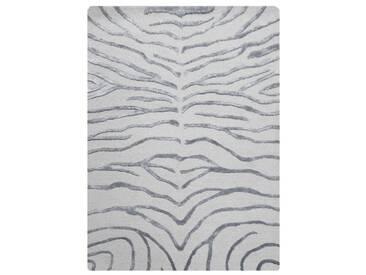 Handgeknüpfter Teppich Zebra in Silber