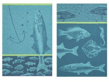 2-tlg. Geschirrtücher-Set Fische