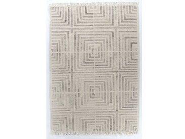 Handgefertigter Kelim-Teppich Vintage Square aus Wolle und Baumwolle in Natural