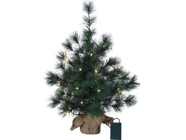 Künstlicher Weihnachtsbaum 60 cm Grün mit 20 LED-Leuchten in Klar/Weiß und Ständer