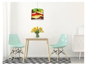 Trommel-Pendelleuchte 1-flammig Köstlicher Burger auf Holztisch