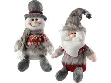 2-tlg.Dekorationsfiguren-Set Sitzender Weihnachtsmann und Schneemann
