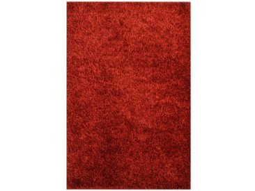 Handgefertigter Shaggy-Teppich aus Wolle in Rot