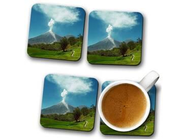 Glasuntersetzer-Set Landscape Guatemala Volcano