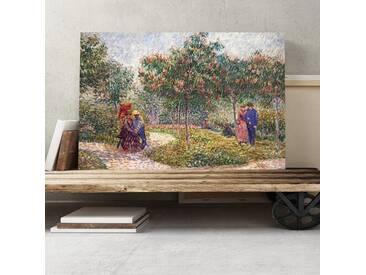 Leinwandbild Garten in Montmartre mit Liebespaar Kunstdruck von Vincent van Gogh