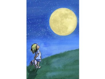 "Leinwandbild ""Girl and Moon"" von Phyllis Harris, Grafikdruck"