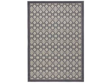 Teppich Tile in Grau/Creme