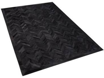 Handgefertigter Teppich Hantsport aus Kuhfell in Schwarz