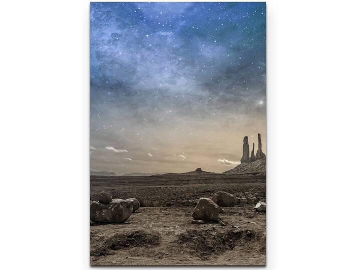 Leinwandbild Wüste bei Nacht Blau