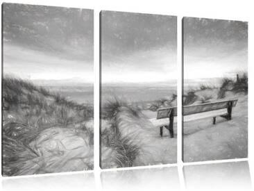 "3-tlg. Leinwandbild-Set ""Bank in den Dünen mit Blick auf das Meer"", Kunstdruck"