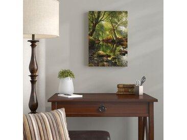Leinwandbild A Woodland Stream Kunstdruck von