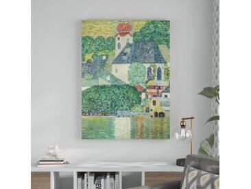 """Gerahmtes Leinwandbild """"Alte Meister Die St. Wolfgang-Kirche"""" von Gustav Klimt, Kunstdruck"""