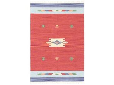 Handgefertigter Kelim-Teppich Trautman aus Wolle in Rot