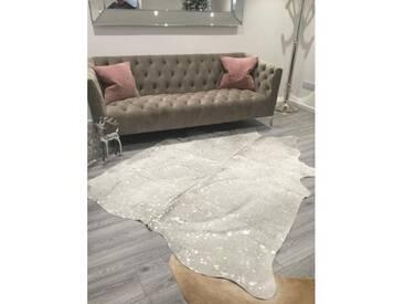 Teppich Tisch aus Kuhfell in Silber