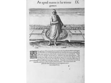 Gerahmter Grafikdruck Old Indian Man in his Winter Garment, from A Brief and True Report of the New Found Land of Virginia by Thomas Harriot Engraved by Theodore de Bry pub. in 1590 von John White