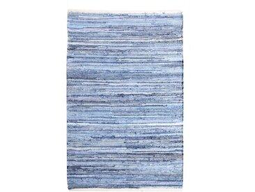 Handgewebter Baumwollteppich Walls in Blau