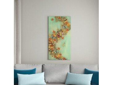 Poster Schmetterlingsschwarm auf Grün