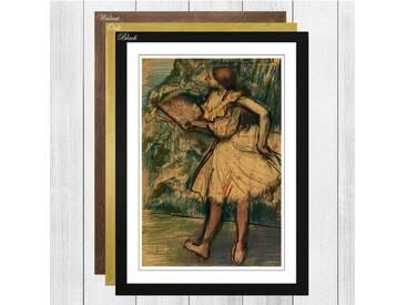 Gerahmtes Wandbild Dancer with a Fan von Edgar Degas