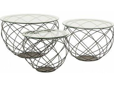 3-tlg. Couchtisch-Set Wire Grid