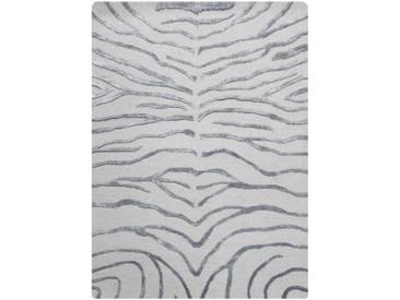 Zebra Hand-Knotted Silver Area Rug