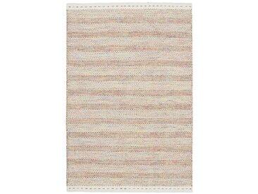 Handgefertigter Kelim-Teppich Craighead aus Wolle in Creme