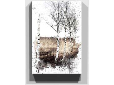 Wandbild Landschaft mit Birke
