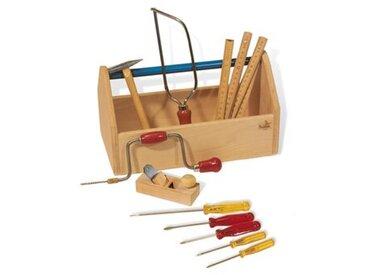 11-tlg. Werkzeugkiste Set in Klar / Bunt lackiert