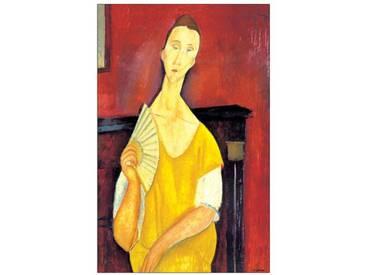 "Schild ""Woman with a Fan"" von Modigliani, Kunstdruck"