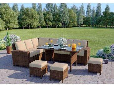 9-Sitzer Lounge-Set aus Polyrattan mit Polster