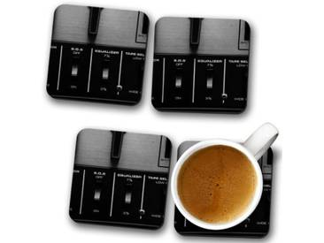 Glasuntersetzer-Set Equalizer Music Record Player