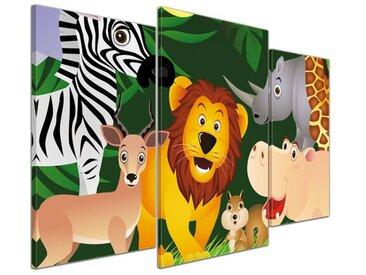 3-tlg. Leinwandbilder-Set Kinderbild - Lustige Tiere im Dschungel - Cartoon, Grafikdruck