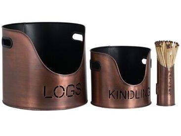 3-tlg. Holzkorb-Set Slaughter aus Kupfer