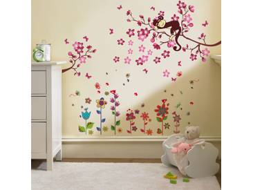 Pink Monkey and Colorful Flower Art Wall Sticker