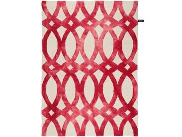 Handgefertigter Teppich Dip Dye aus Wolle in Rot
