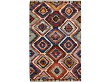 Handgefertigter Teppich aus Wolle in Rot/Blau/Orange