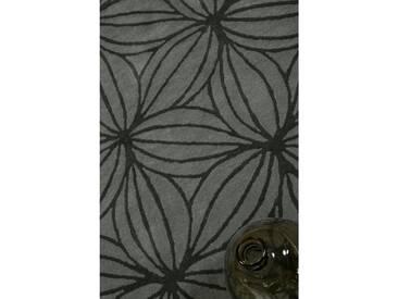 Handgefertigter Teppich Oria aus Wolle in Grau